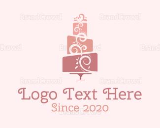 Cupcake - Cute Pink Wedding Cake logo design