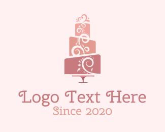 Cake - Cute Pink Wedding Cake logo design