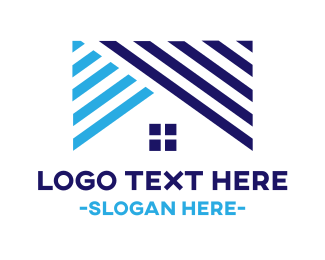Realty - Striped Blue Roof logo design