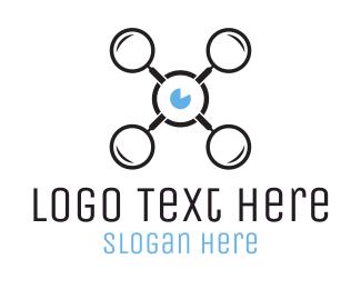 Magnifying Glass - Drone Black & Blue logo design