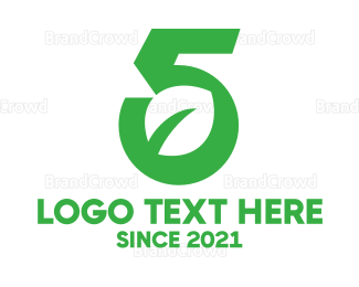 Fifth - Modern Leaf Number 5 logo design
