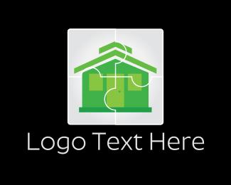 Puzzle - House Puzzle logo design