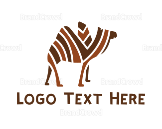 Travel Agency - Mosaic Stripe Camel logo design