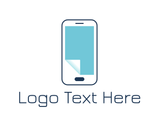 Blue Phone - Paper Phone logo design