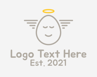 Angel - Angelic Egg Outline  logo design