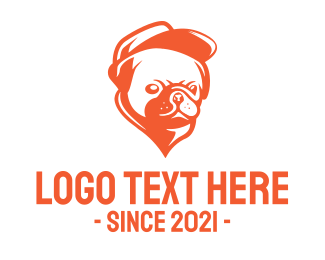 Orange Puppy - Orange Pug logo design