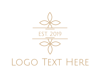 High Tea - Minimalist Golden Flowers logo design
