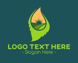 Agritech - Leaf Landscape logo design