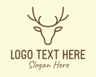 Moose Antlers - Brown Wild Deer logo design