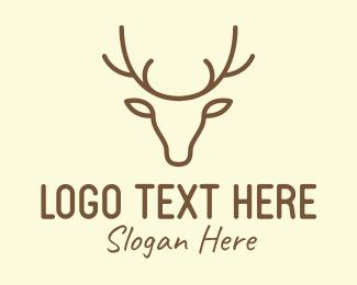 Meat - Deer Head Outline logo design
