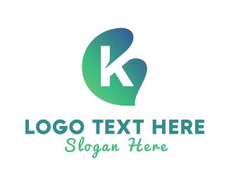 Green Leaf - Green Gradient Leaf Letter K logo design