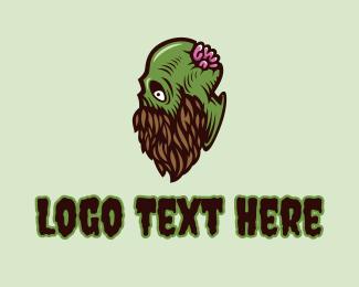 Barbers - Creepy Zombie Beard  logo design