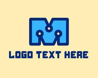 System - Digital Letter M logo design
