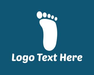 Feet - White Footprint logo design