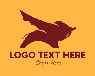 Bullfighter - Buffalo Bat Wings logo design