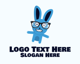 Geek - Crazy Bunny Mascot logo design
