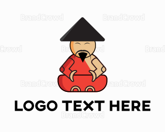 Buddhism - Asian Monk logo design