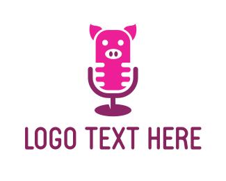 Comedy - Pig Microphone logo design