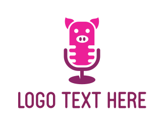 Mic - Pig Microphone logo design