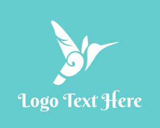 Small - White Floral Hummingbird logo design
