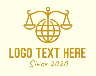 Judge - International Law Gold Globe logo design