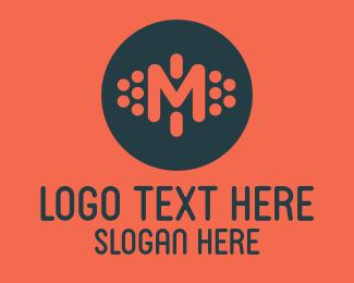 Analytics - Dotted Letter M logo design