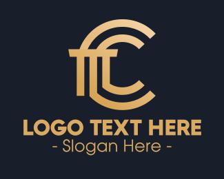 Ionic - Golden Premium Letter C Column logo design