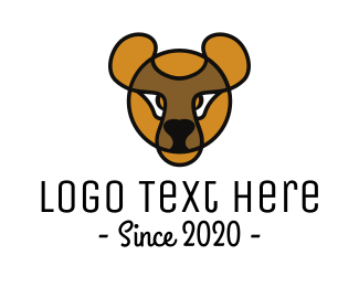 Plushie - Yellow Teddy Bear Outline logo design