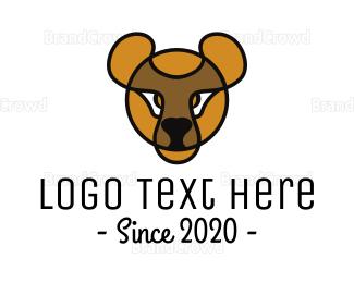 Teddy - Yellow Teddy Bear Outline logo design