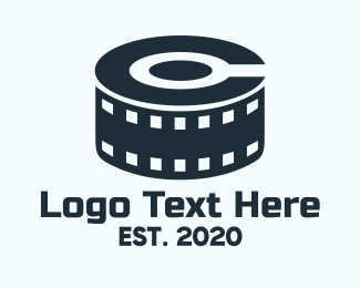 Movie Reel - Blue Film Reel Letter C logo design