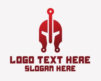 Spartan - Red Spartan Helmet logo design