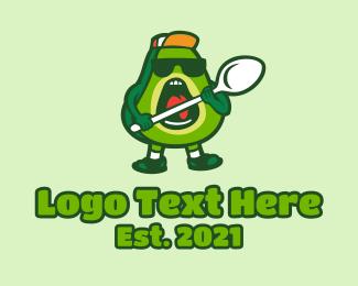 Fresh Produce - Cool Avocado Spoon  logo design