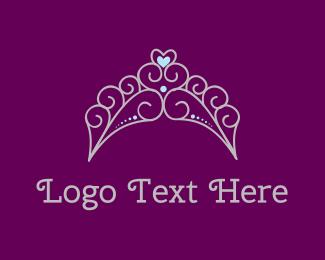 Tiara - Princess Heart Tiara logo design
