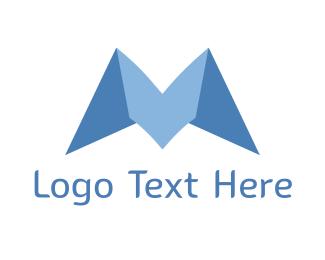 Blue Origami M Logo