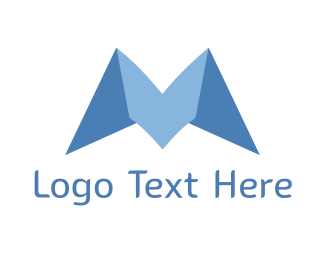Folding - Blue Origami M logo design