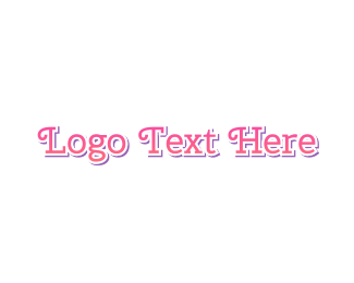 Curly Cute Pink Text Logo