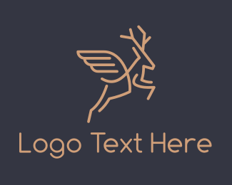 Stag - Brown Flying Deer logo design