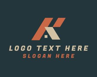 Letter K - House Letter K logo design