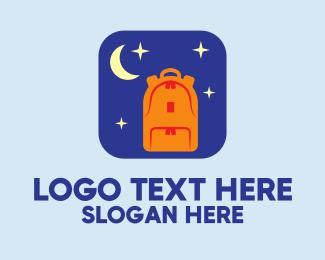 Backpacker - Moon Backpack Mobile App logo design