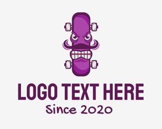Skate - Angry Skateboard Monster logo design