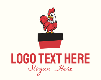 Chicken Farm - Cartoon Rooster logo design