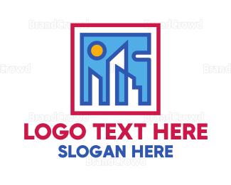 Picture Frame - Geometric Building Square  logo design
