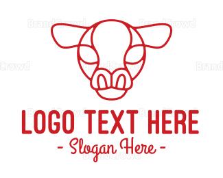 Dairy - Red Cow Head Outline logo design