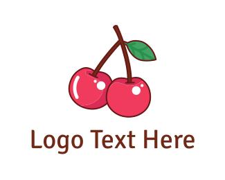 Cherry - Pink Cherries logo design