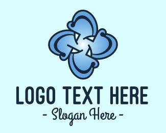 Medical Services - Blue Flower Cross logo design