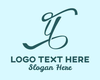 Masseuse - Blue Cursive Letter Y logo design