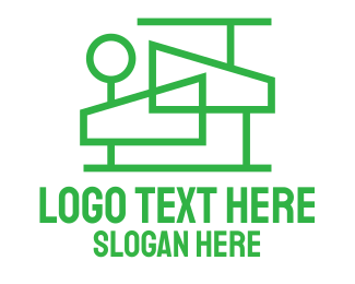 Service - Modern House Outline  logo design