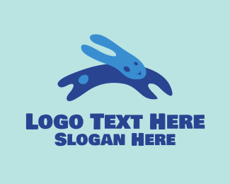 Blue Rabbit - Abstract Blue Bunny logo design