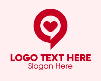 Online Dating - Love Chat Bubble  logo design