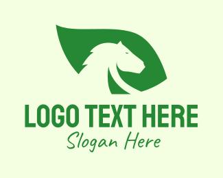 Green Horse - Horse Leaf logo design